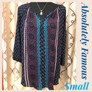 Absolutely Famous Boho Peasant Blouse Navy Small